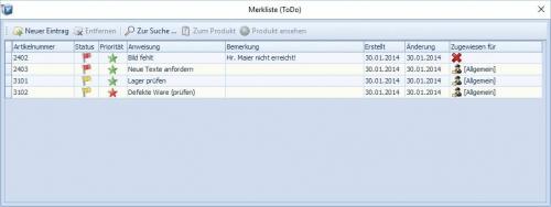 OXID-Client: ToDo-Liste
