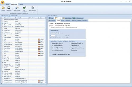 OXID-Client: Produkte exportieren